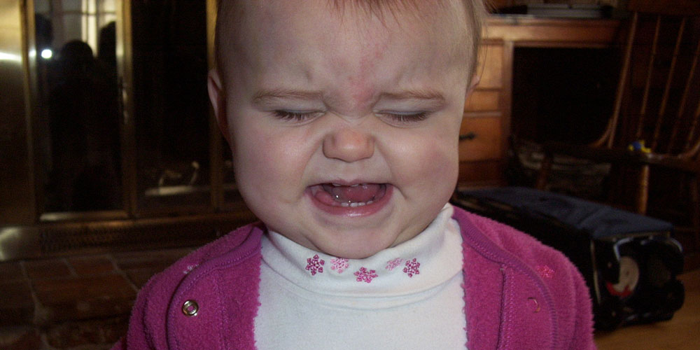 A toddler crying