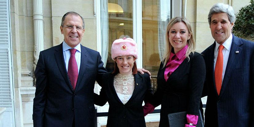 Jen Psaki in Russian Ushanka hat