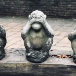 Monkey hear no, see no, speak no evil statues