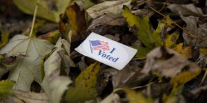 """""""I Voted"""" sticker in a pile of leaves"""