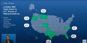 Map of states gaining Congress seats
