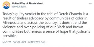 United Way RI tweet on Chauvin case