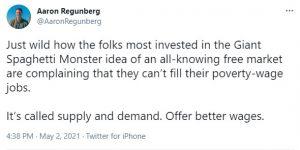Aaron Regunberg tweet about free markets