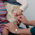 A child being vaccinated