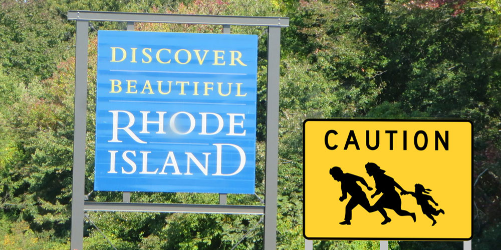 Immigrant crossing sign with Discover Beautiful RI sign