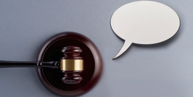 Gavel with a speech bubble
