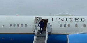 Kamala Harris disembarks from Air Force 2 in RI