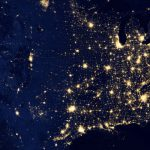 An aerial photograph of the U.S. at night.