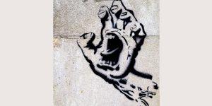Screaming hand graffiti