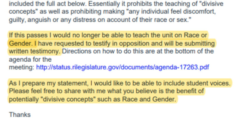 Jennifer Bergevine's email to students
