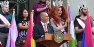 Jorge Elorza speaks at a Pride event