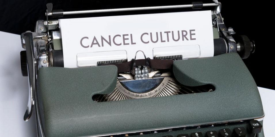 "A ""cancel culture"" document in a typewriter"