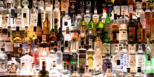 A lit liquor shelf