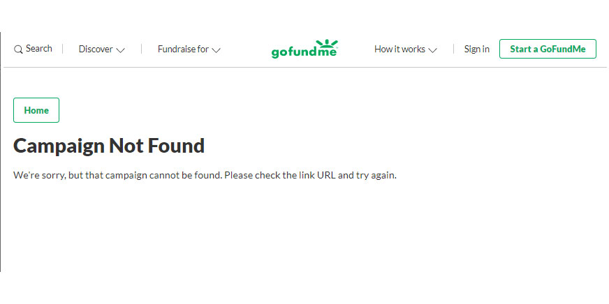 GoFundMe Campaign Not Found
