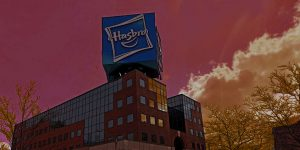 Hasbro building on a red sky