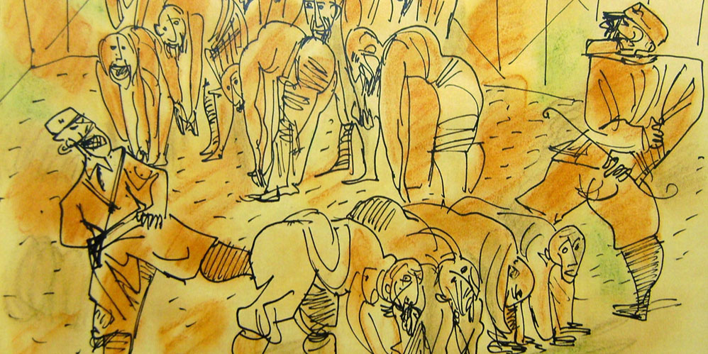 Two Nazi Soldiers Abusing Jews, by Marcel Janco