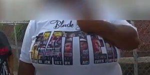 BLM t-shirt of Sayles St instigator.
