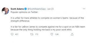 Scott Adams trans sports tweet 06/23/21