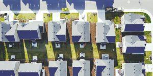 Aerial shot of a suburban development