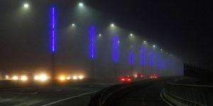 Glowing lights on the Sakonnet River Bridge