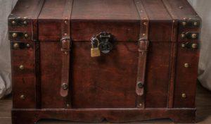 A locked luggage box