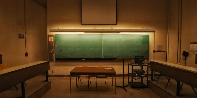A dark classroom