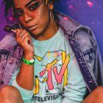 A woman in an MTV shirt