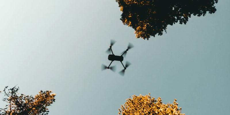 A drone overhead