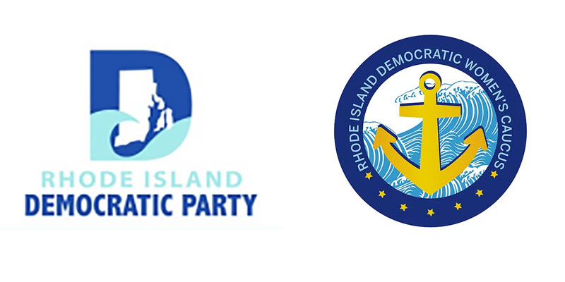 Logos for the RI Democratic Party and Democratic Women's Caucus
